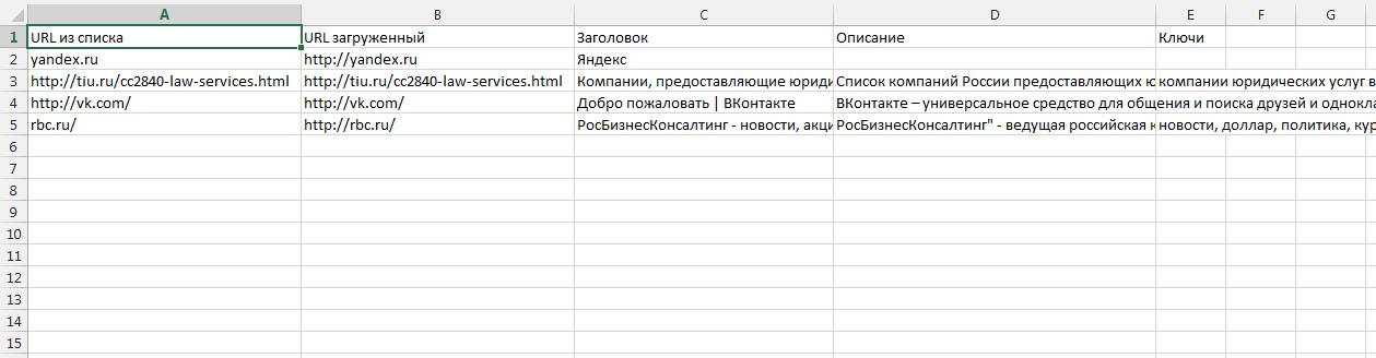 Файл Excel с данными из мета-тегов