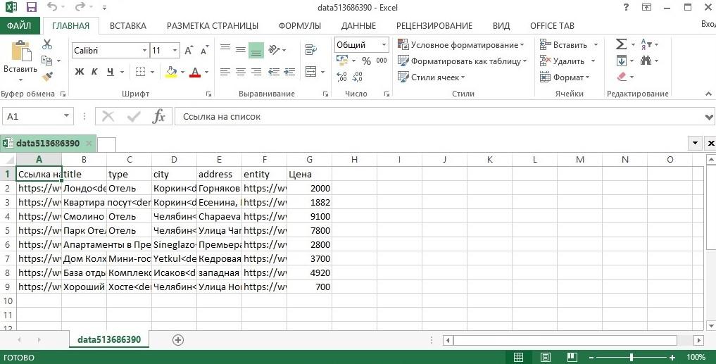 Файл Excel с данными гостиниц с Booking.com