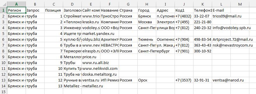 Файл Excel с контактными данными из Директа