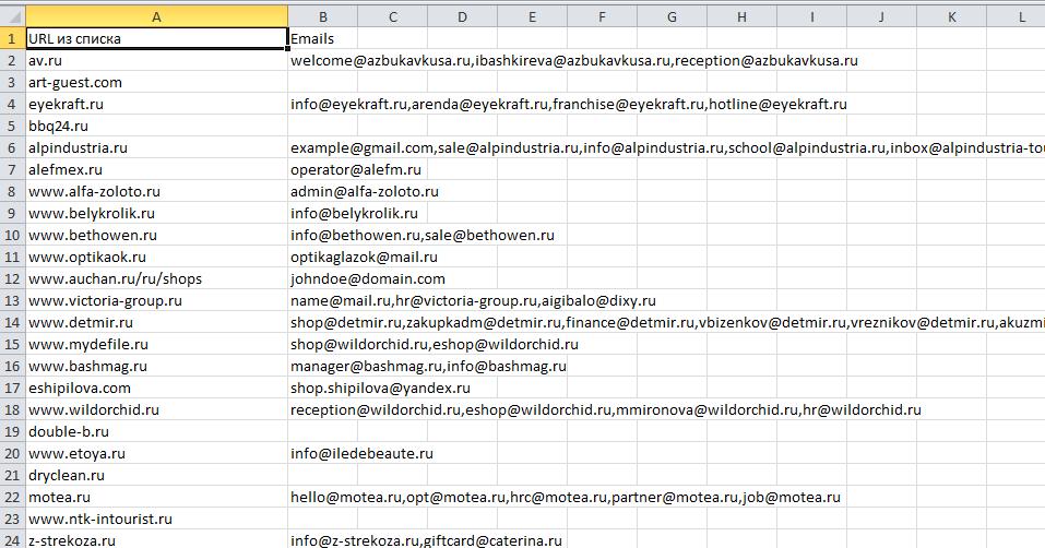 Файл Excel с электронной почтой с просканированных сайтов