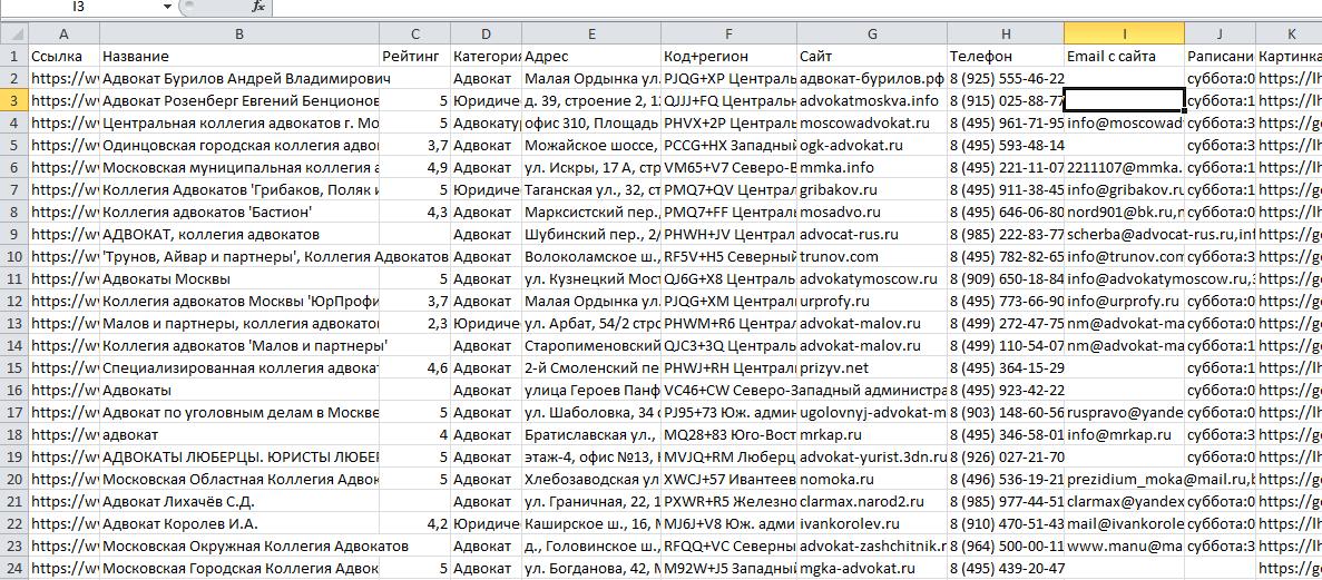 Файл Excel с данными с Гугл-Карт