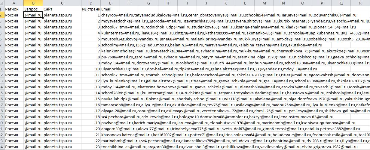 Файл Excel с электронной почтой из кэша Яндекса по заданному списку сайтов